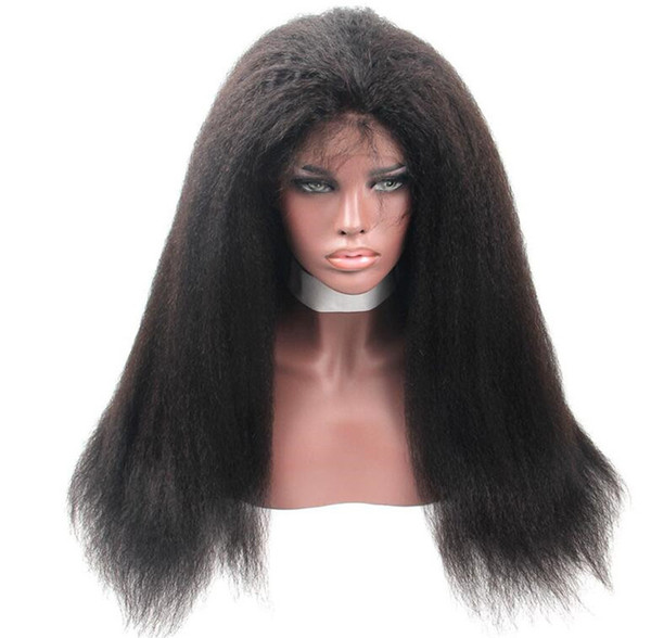 Pre Plucked Full Lace Human Hair Wig Kinky Straight Human Hair Wigs-Glueless Brazilian Virgin Natural Color Wigs with Baby Hair