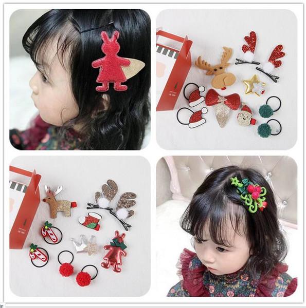 Подарочные сувениры 2018 дети рождественские волос кольцо Рождественский детский набор кольцо волос ребенок шпилька BB клип пантовые 10 шт