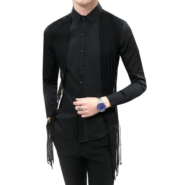 Men Casual Business Buttoned Formal Long Sleeve Solid Color Slim Fit Stylish Luxury Shirt Top Party Club DJ Singer For Male