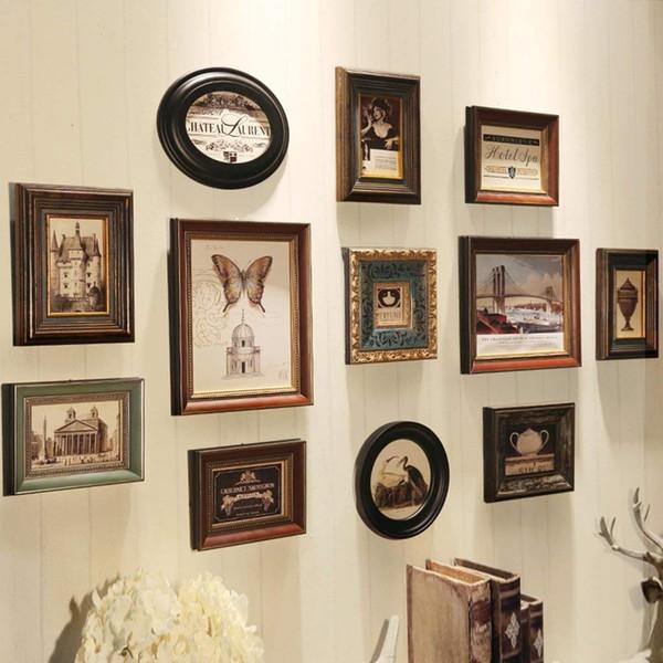 Le bois rencontre le mur de cadres photo de couleurs mélangées avec le vrai verre comprenant le noyau de peinture et l'instruction d'installation, ensemble de 12 cadres de collage