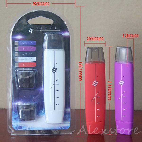 G8 Комплект для начинающих курить 300 мАч с плоским аккумулятором Мини-ручка Vape с USB-зарядным устройством 2 Одноразовый картридж Стручок в блистерной упаковке Новый испаритель