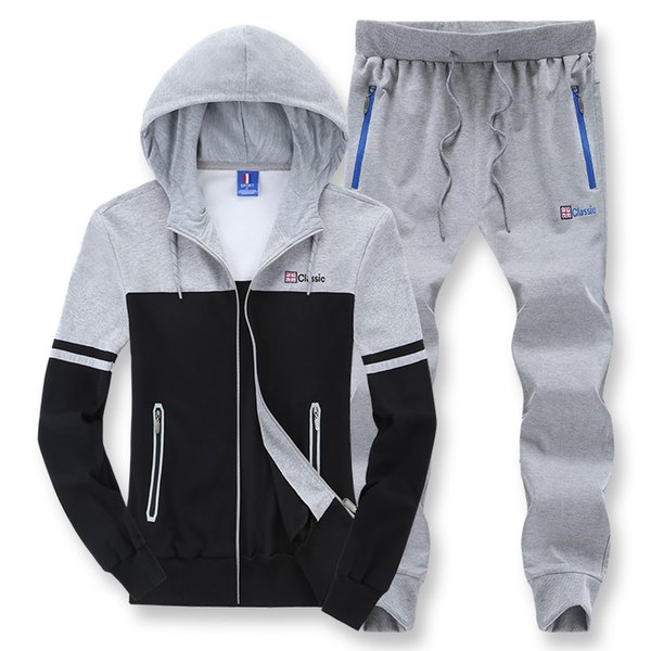 L-8XL Tracksuit Sportswear for Men Spring Autumn Hooded Hoodies Sweatshirt+pants Male Running Jogger Fitness Sports Suit 2PCS