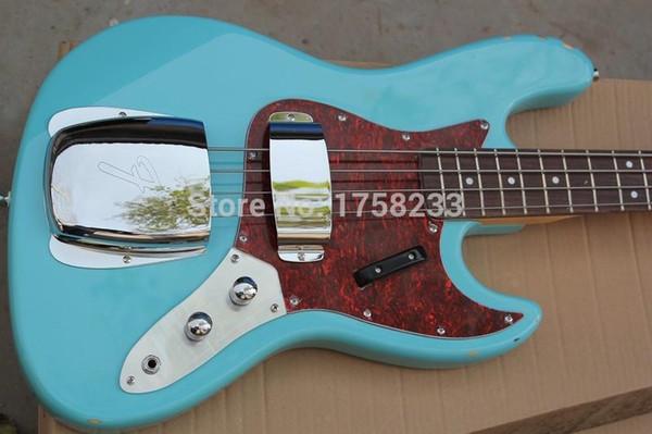Free shipping High Quality Custom body mahogany body 4 string FD Signature Sky blue Jazz Bass guitar