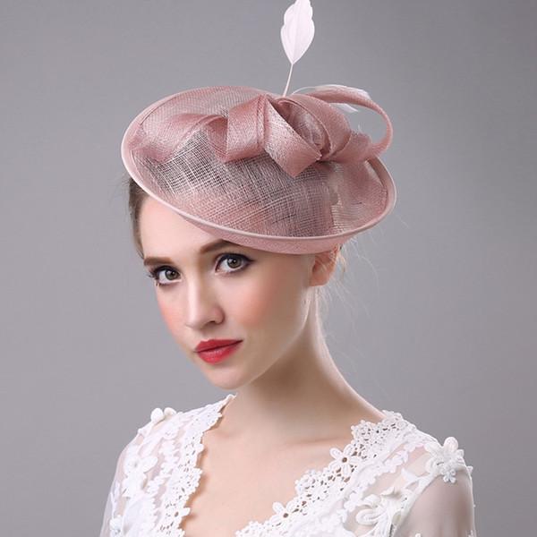 Moda rosa nupcial sombrero de baile cóctel sombreros de noche de alta calidad accesorios para el cabello fiberflax ocasión especial sombreros de boda de las mujeres sombrero