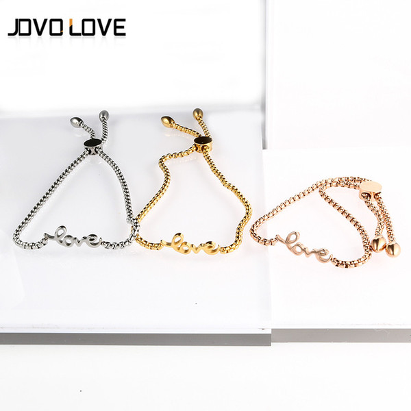 Women Bracelets Bangles Silver Rose Gold Color Love Heart Adjustable Bracelets Pulsera Stainless Steel Jewelry for Wedding Party