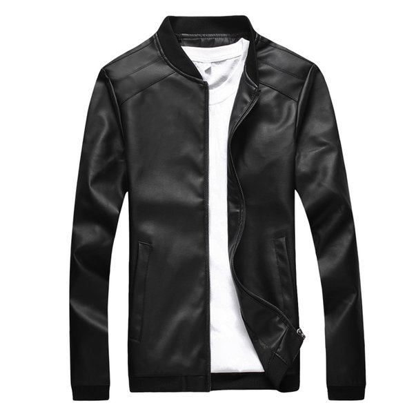 Wholesale- 2017 Autumn Winter New Men jaqueta de couro masculino Fashion Solid Color PU Leather Jacket Casual Slim Motorcycle Jacket Coat