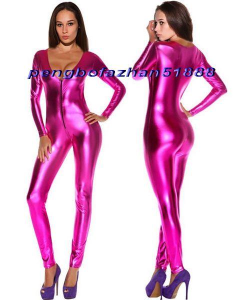 Sexy Rose Rot Shiny Metallic Anzug Catsuit Kostüme Sexy Frauen V-Kragen Body Suit Kostüme Halloween Party Kostüm Cosplay Kostüme P337
