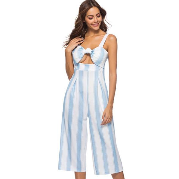 Women's Sexy Spaghetti Strap Striped High Waist Wide Leg Calf-Length Pants Fashion Hollow Bra Tops