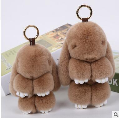 Mignon Lapin Porte-clés neuf couleurs Femmes 14 cm Fluffy Pompon Fur Rabbit Porte-clés Llaveros Mujer Voiture Sac Pendentif Boule Porte-Clé