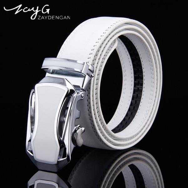 ZAYG Designer Mens einfachen weißen Gürtel beste Qualität First Class echte Echtleder Mann Luxus Gürtel Legierung Schnalle Weddin