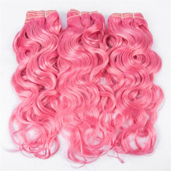 Pink Wet and Wavy Human Hair 3 Bundle Deals #Pink Pelo humano Pink Water Wave Weave Extensiones de cabello humano de la Virgen de Brasil Envío rápido