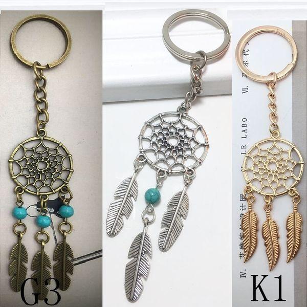 Hot Antique Silber Messing Gold Schlüsselanhänger Dream Catcher Feder Bead Charm Dreamcatcher Schlüsselanhänger Keychain Car Bag Dekorationen Frauen Schmuck