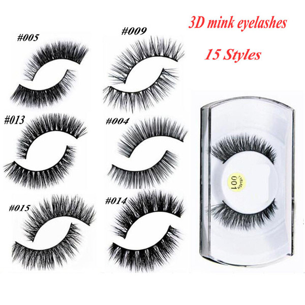 best selling 100% 3D Mink Makeup Cross False Eyelashes Eye Lashes Extension Handmade nature eyelashes 15 styles for choose also have magnetic eyelash
