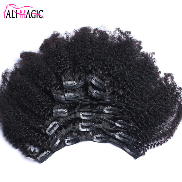 Afro Kinky Curly Clip In Human Hair Extensions Brazilian Remy Hair 100% Human Natural Hair Clip Ins Bundle 100G 120G Ali Magic Factory