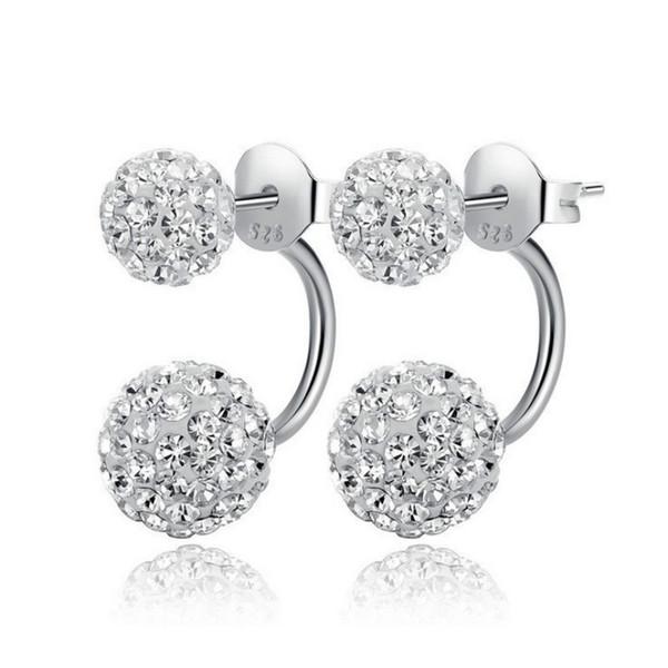 New Double sided Shambala Ball Stud Earrings Diamond Crystal disco beads Earings 925 Silver plated fine Jewelry for women girls