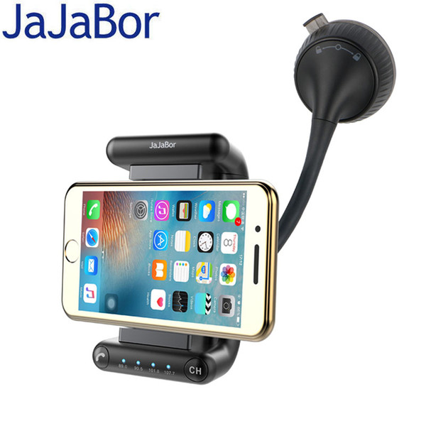JaJaBor Bluetooth Hands-free Car Kit FM Frequency Support U Disk Music Play DC5V 2A Phone Charger Smartphone Holder 360 Rotation
