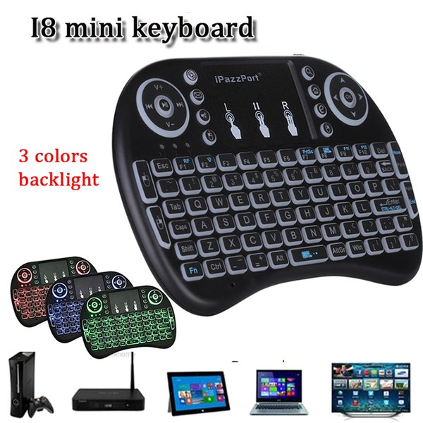 Rii I8 mini bluetooth keyboard 2.4g touchpad rechargeable lithium battery wireless fly air mouse remote control 3 color backlight