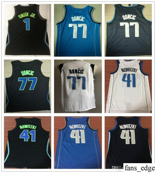 separation shoes 82cbf d9d75 2018 Stitched 2019 New Style 1 Dennis Smith Jr. Jersey City Edition Navy  Blue White 41 Dirk Nowitzki 77 Luka Doncic Basketball Jerseys Embroidery  From ...