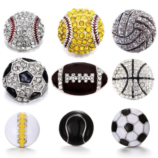 best selling DIY Snap Button Jewelry Diy Rhinestone 18mm Sport Ball Snap football Rugby Baseball Volleyball Basketball Eblliard Ball Button