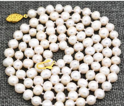 Kostenloser Versand Schön! 8-9mm Weiß Akoya Süßwasser Zuchtperlen Halskette 50
