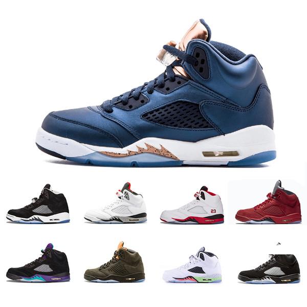 nike air jordan aj5 2018 5 5s OG Noir Métallique Noir Hommes Chaussures de Basket Raisin Oregon canards Oregon PE Alterné rouge bleu Suede Feu Rouge Sport Sneakers