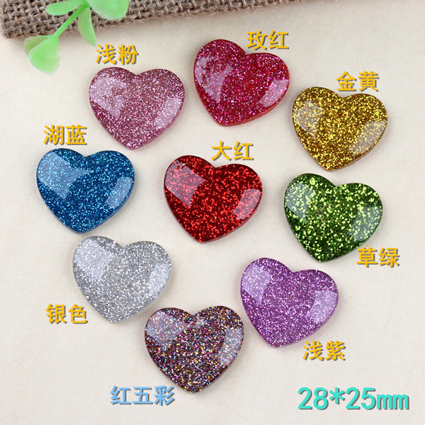 28*25MM DIY Resin heart charms heart-shaped flatback patch kawaii cabochon paster resin craft jewelry ornament decoration