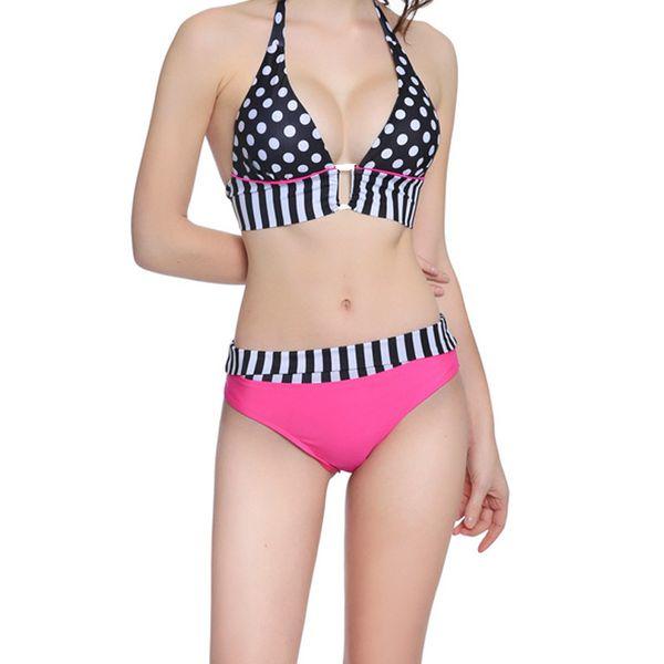 Sexy Dot Bikini Fashion Back Closure Deep V Bra Set Female Sexy Lace Up Bra Women Padded Lingerie Summer Sexy Bra