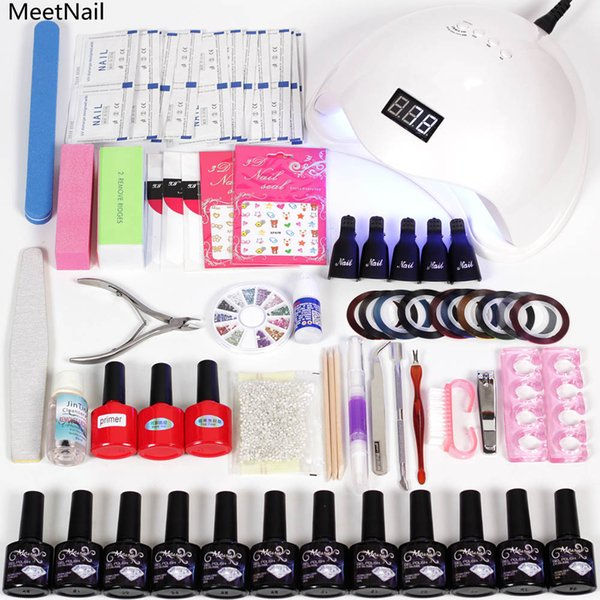 MeetNail nail lamp 6w/48w led display curing 12 nail polish gel uv palette stickers for set pusher rhinestones base and top set