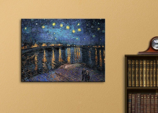 Starry Night over The Rhone by Vincent Van Gogh Handmade & HD Print Art oil painting,Home Decor High Quality Canvas Multi Sizes l26