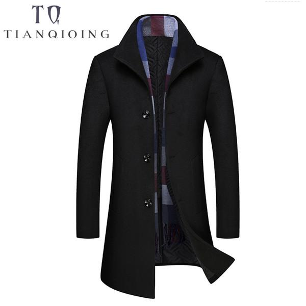 Brand Men Wool & Blends Scarf Collar Fashion Design Mens Jacket Wool Coat Men Business Casual Peacoat Long Winter Coat M-3XL