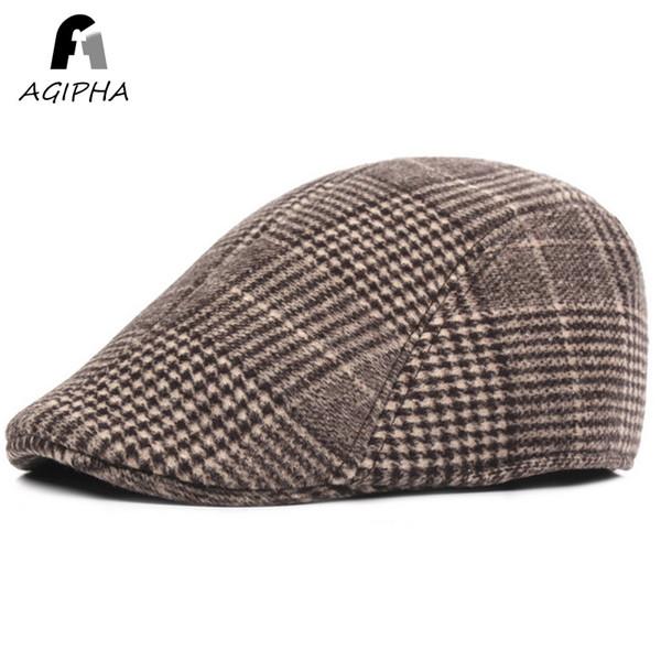 Autumn Winter Berets Caps For Men Plaid Patterned Patchwork Casual Retro Male Hats Cap Classic Flat Ivy Cap 3 Colors Brand New