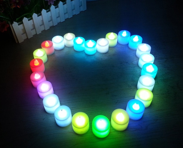 Small milk white shell smokeless LED tea lights cylinder flameless Flicker electric candle light Wedding Birthday Party Christmas Decoration