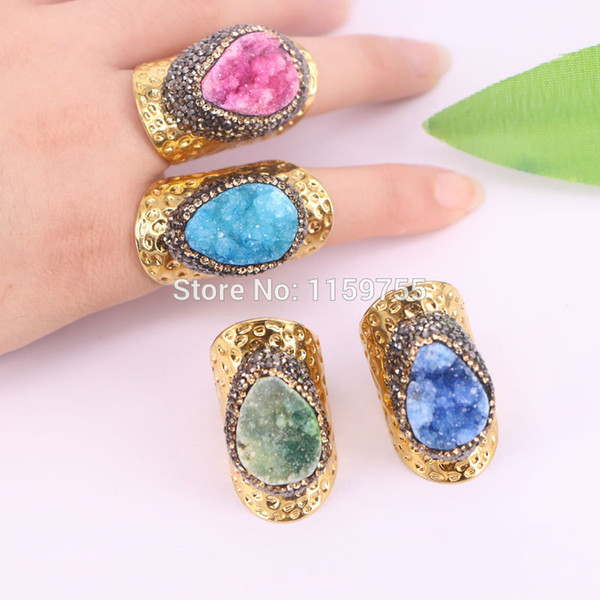 5Pcs Mixed color quartz finger rings,gold color pave crystal rhinestone Gems rings,jewelry finding