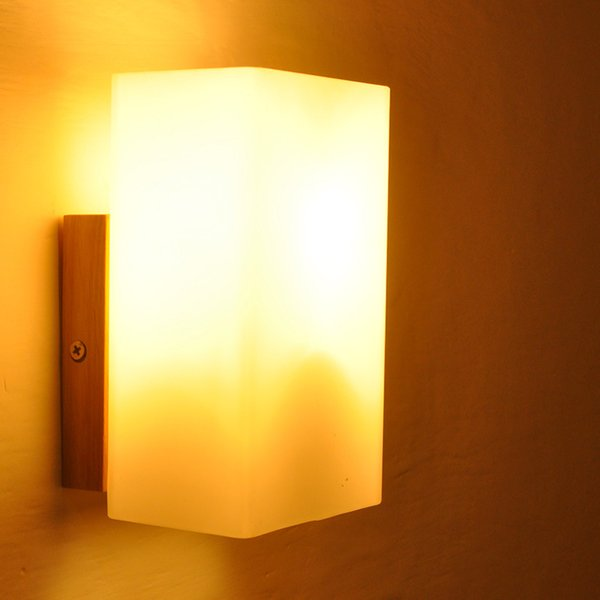 Modern Solid Wood Wall Sconce with Cubic Frosted Glass Shade LED E27 Wall Lamp for Aisle Bedroom Staircase Lighting Fixture