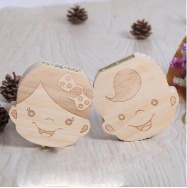 Presente bonito Crianças Caixa De Dente Organizador Do Bebê Salvar Dentes De Leite Caixa De Armazenamento De Madeira Para O Menino Menina
