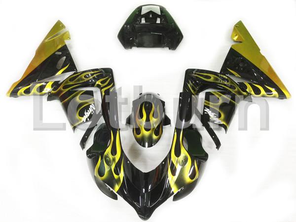 Kit de carenado Moto amarillo adecuado para Kawasaki Ninja ZX10R ZX-10R 2004 2005 04 05 Carenados de motocicleta por encargo moldeado por inyección