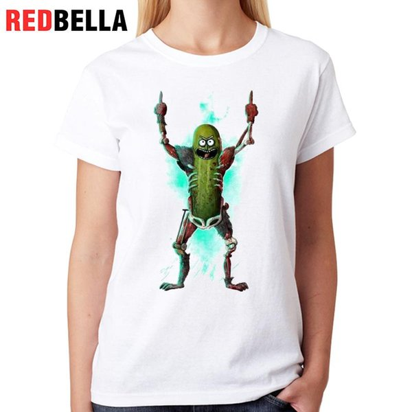Women's Tee Redbella Punk T Shirt Femme Rick And Morty Rock Spoof Poleras 100% Cotton Cartoon Tumblr Hipster Fashion Women White For Sale