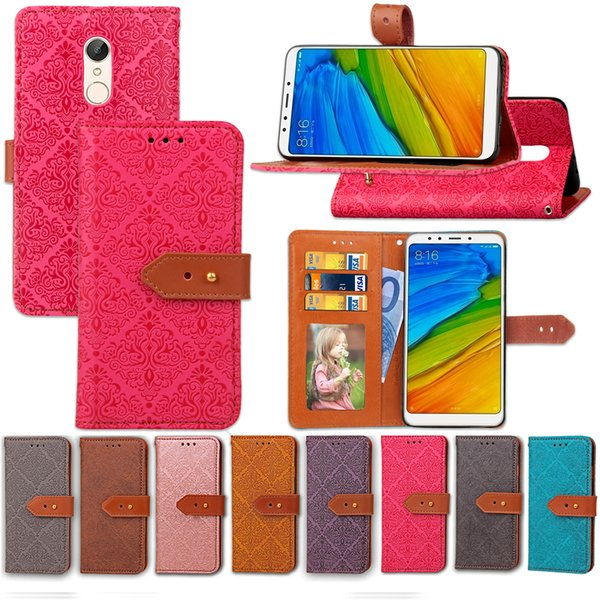 For Redmi 5 Case PU Leather Noble European Painting Style with Wallet Card Holder Hand Strap