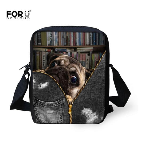 FORUDESIGNS 2018 New Cute Animal Pug Dog Mini Shoulder Bags Young Crossbody Bag for Children Kids High Quality Small Handbags