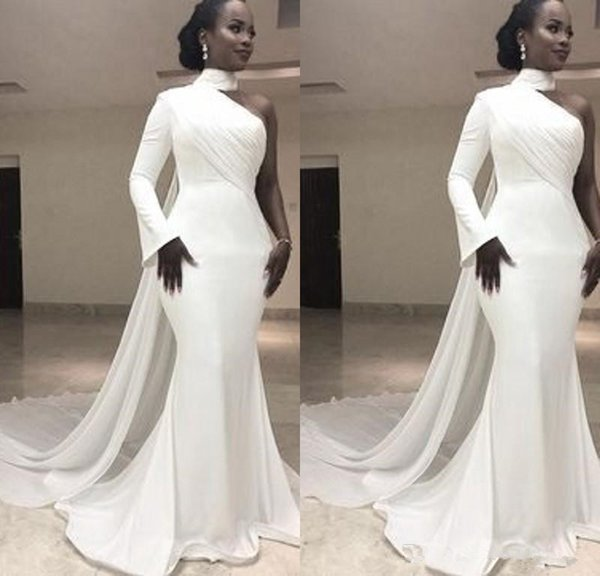 Cheap White Prom Dresses Long Sleeve One Shoulder High Neck Chiffon Evening Gowns Formal Women Special Occasion Prom Dresses Custom Made