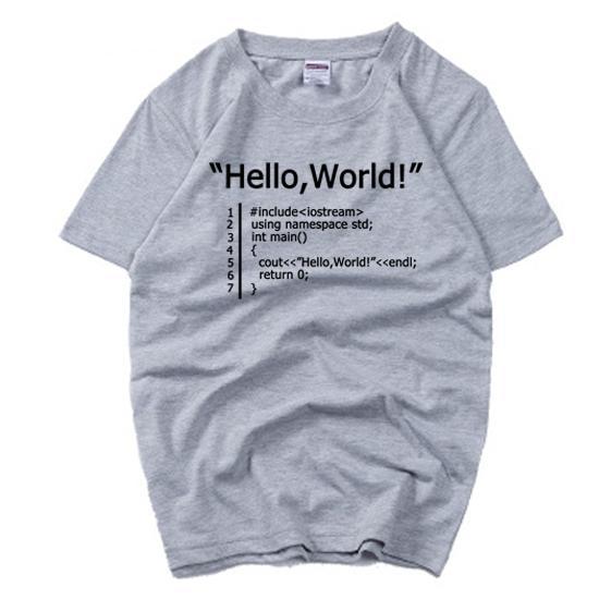 hello world geek programmer man boys o-neck cotton short-sleeve T-shirt