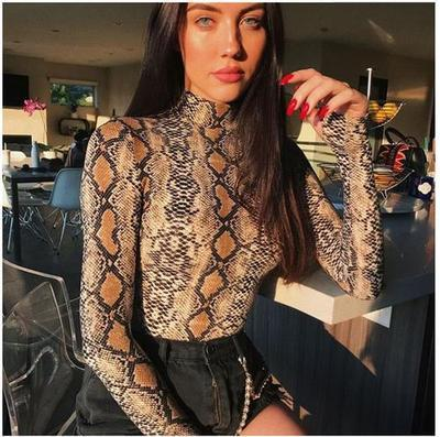 New Fashion Snake Print O Collo Bodycon Body Sexy Night Club Fasciatura Pagliaccetti Donna Tute Completa manica Playsuits