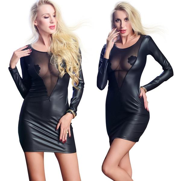 Sexy Dessous Lederkleid Durchsichtig Spitze Luru Babydoll Latexkleid Backless Langarm Clubwear Plus Größe 2XXL Für Frauen