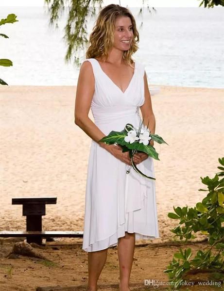 2018 New Sexy Cheap Simple Summer Beach Wedding Dresses V Neck Short Tea Length Chiffon Boho Vestido De Noiva Wedding Gowns