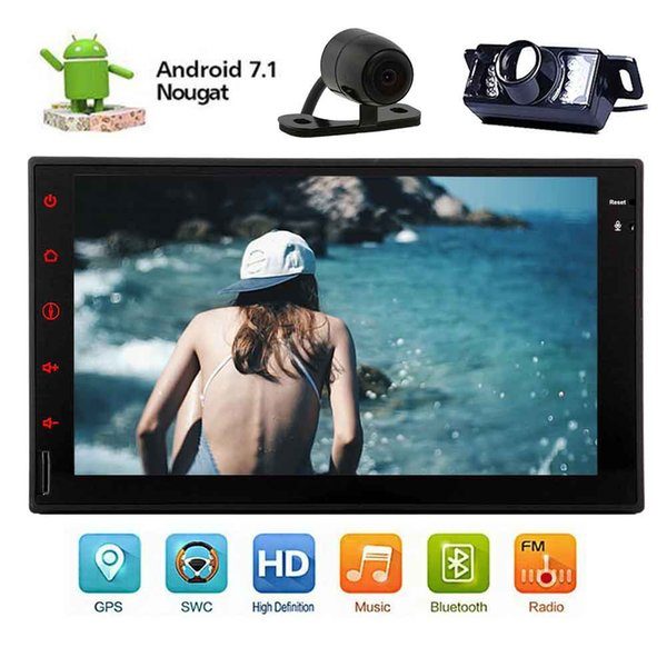 Front&Backup Camera+Universal Android 7.1 OCTA Core Car Stereo Autoradio Universal Double 2 DIN Audio Video Receiver Head Unit Wifi 3G/4G