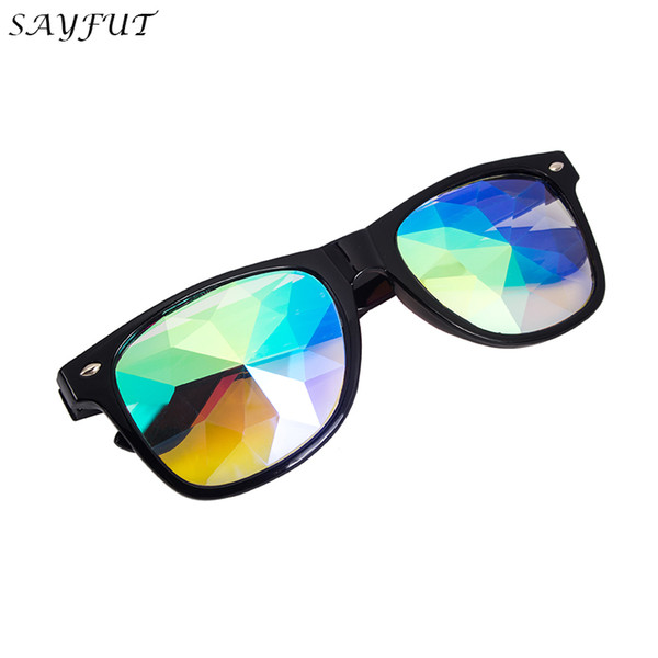 SAYFUT  - Rainbow Prism Diffraction Crystal Lens Sunglasses Goggles Steampunk Welding Punk Gothic Cosplay
