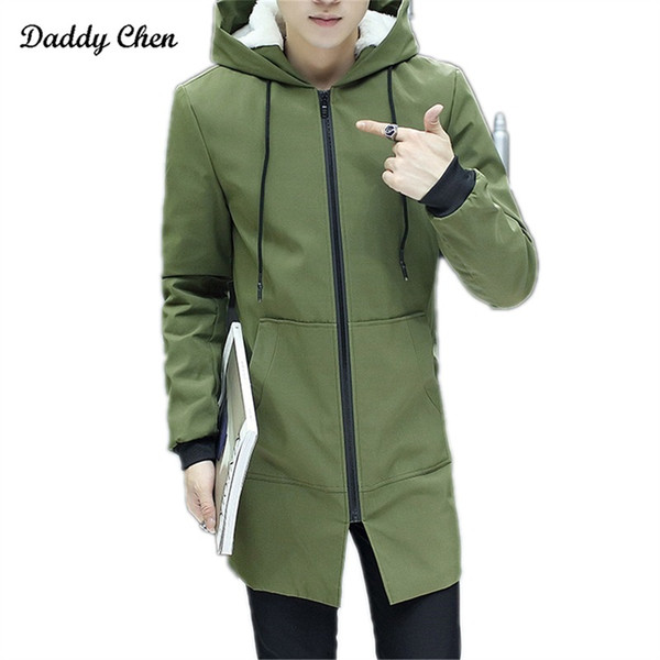 Fashion High Quality Winter Warm Trench Coat Men Autumn army Green hooded balck Trench Outerwear Coats Long Slim Fit Overcoat