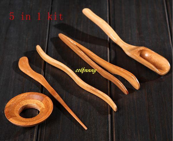 10sets/lot Free shipping 5pcs/set Bamboo Tea Spoon tea clip leak needle teaspoon Kung Fu Tea Set