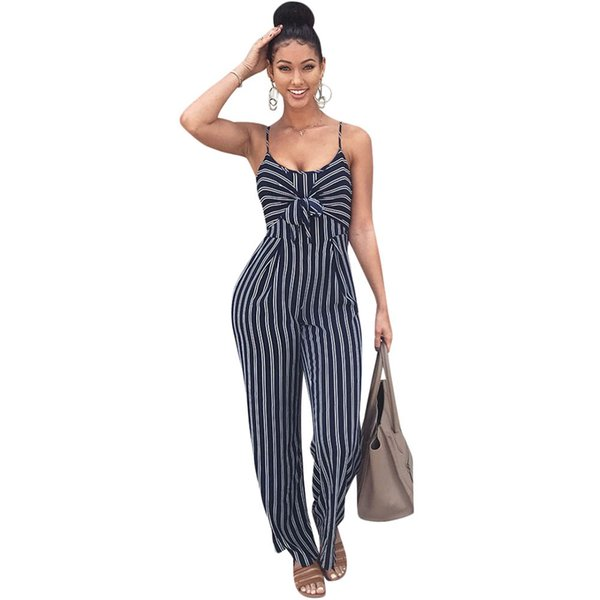 5bc84addb3 Elegant Striped Sexy Spaghetti Strap Rompers Womens Jumpsuit Sleeveless  Backlessbow Casual Wide Legs Jumpsuits Leotard Bodysuit