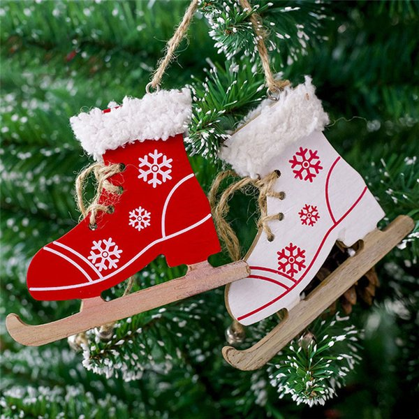 1Pc Snowfake Pattern Wooden Sleds Boots Christmas Tree Ornament Xmas Hanging Pendant Christmas Navidad Decor For Home Random Y18102609